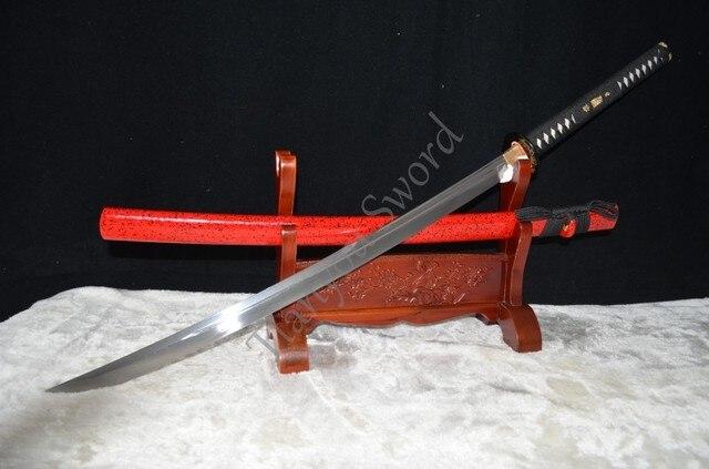"45""Japanese Samurai Full Tang Functional Sword Naginata Folded Damascus Steel Oil Quenched Unokubi-Zukuri Blade Battle Ready"