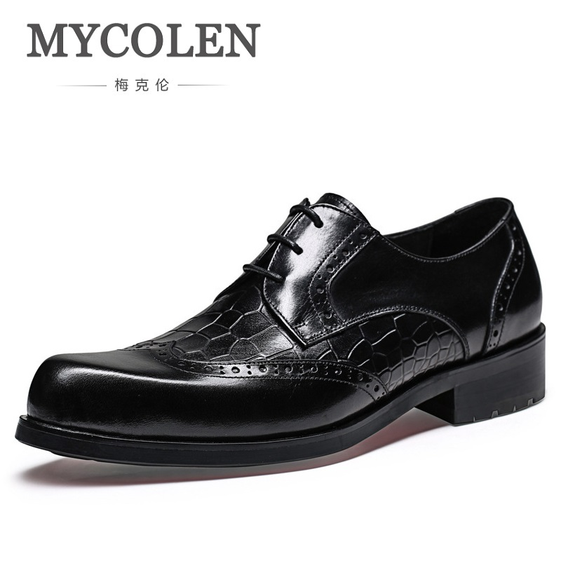 MYCOLEN New Mens Wedding Dress Shoes Crocodile Print Genuine Leather Pointed Toe Lace Up Classic Business Formal Footwear pjcmg new black red mens oxfords crocodile pattern lace up pointed toe genuine leather business formal men wedding office shoes
