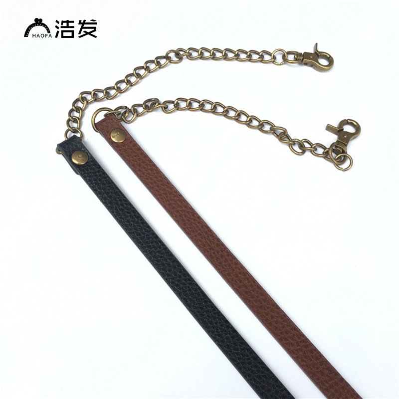 HAOFA 60cmReplacement Shoulder Bag Strap DIY Black PU Leather Handle with Bronze Metal Chains
