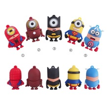 FULL capacity super hero usb flash drive 32GB 8GB 16GB 64GB 4GB minions super pen drive Bat man Memory Stick usb2.0 flash momory