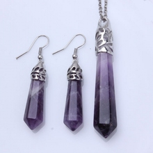 wholesale lots 10 sets Ladies Classical Amethyst Crystal stone Hexagonal Pendulum Beads Column Pendant Dangle Earring