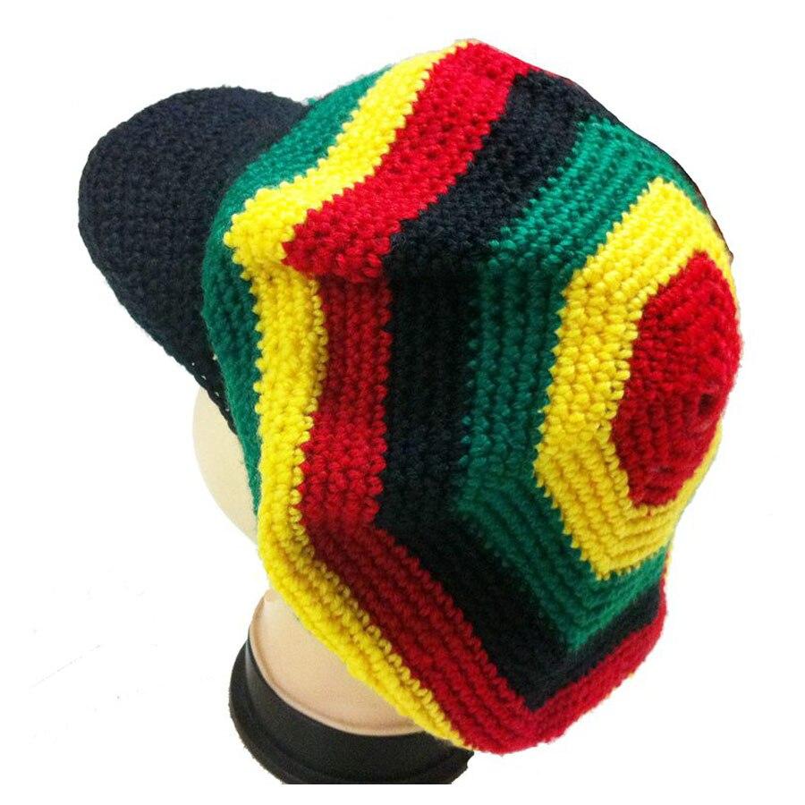 HOT Knitted Jamaican Reggae Rasta Flat Brim Hat Handmade Crochet Fancy  Dress Dancing Halloween Visor Beret Cap Red Yellow Green-in Berets from  Apparel ... 079a13d64b45
