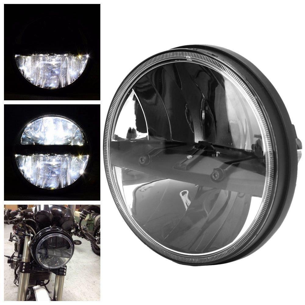 Motosiklet parçaları Siyah 7 inç led far Yüksek/Düşük ışın projektör far için Harley Softail Fat Boy EFI FLSTFI title=