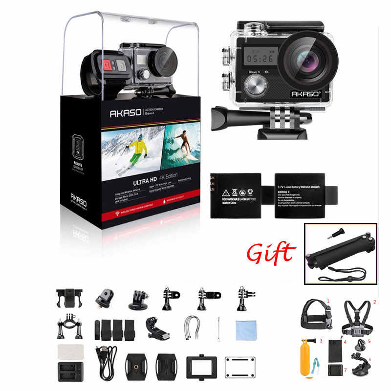 Akaso Berani 4 4K 20MP WiFi Action Camera Ultra HD Eis 30 M Tahan Air Remote Olahraga Camcorder Helm aksesoris Hadiah