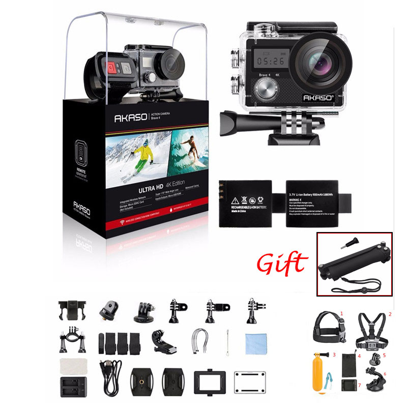 AKASO Brave м 4 К к 20MP Wifi Экшн-камера Ultra HD EIS 30 м подводный водостойкий пульт дистанционного управления спортивная видеокамера шлем аксессуары под...