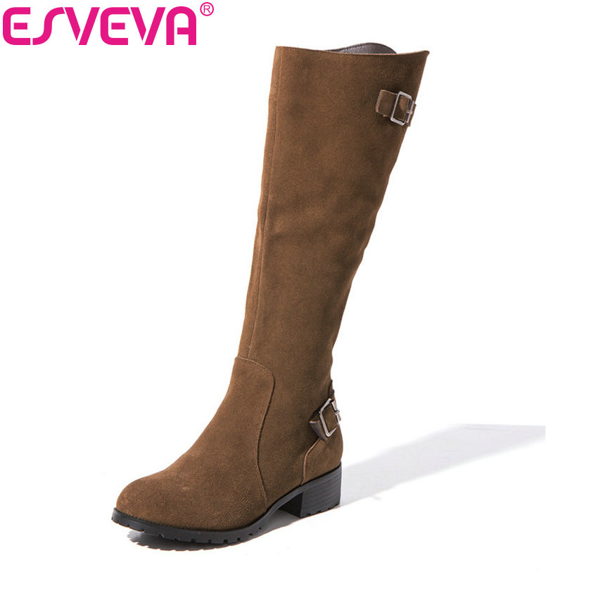 ESVEVA 2018 Women Boots Buckle Cow Leather + Scrub Riding Boots Zip Square Heel Knee High Boots Winter Ladies Shoes Size 34-39