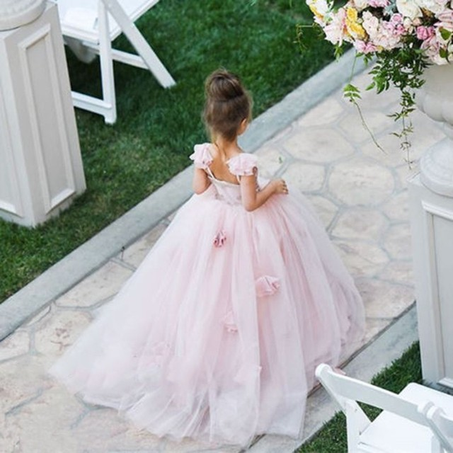 Blush Pink Flower Girl Dresses Applique Handmade Girls Dress Floor