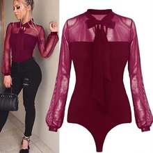 2019 New Summer Bodysuit Women Sexy Bow Black Lace Patchwork Long Sleeve Back Ladies Mesh Transparent Tops