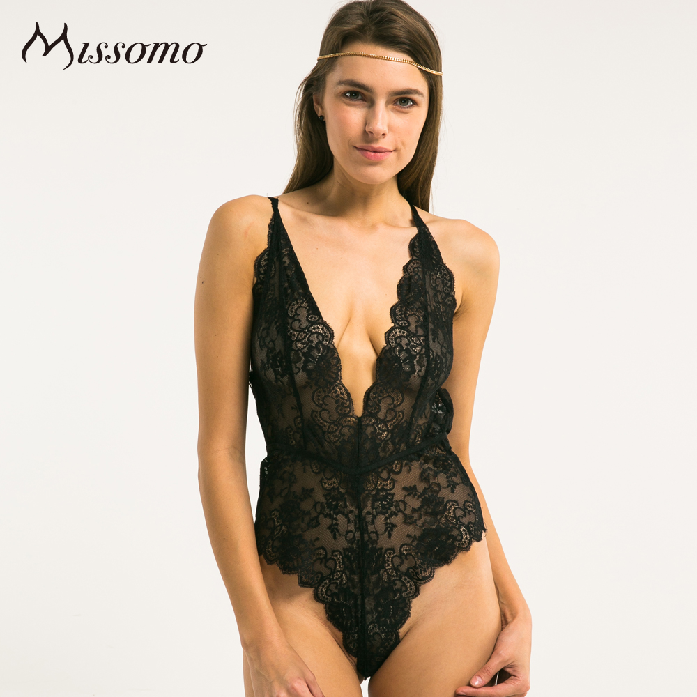 Missomo 2017 New Fashion Women Black Sexy Cross Straps Soft Backless Lace Solid Bodycon Hight Leg Floral Deep V Bodysuits
