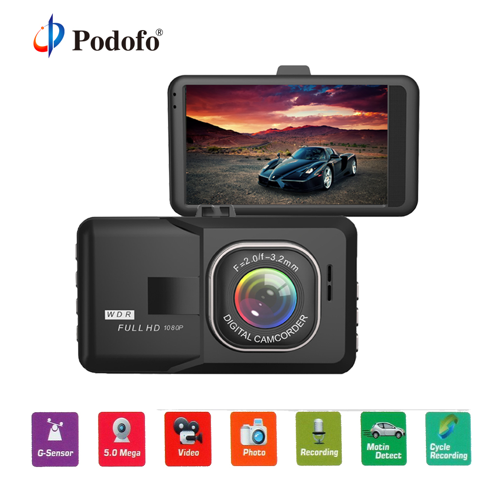 Podofo Original Car DVR 3 FHD 1080P Recorder DashCam G-sensor Registrator Parking Motion Detection Blackbox Night Vision DVRs