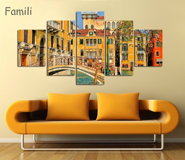 5Panel Canvas Painting Venice City Wall Art Large Canvas Print ...