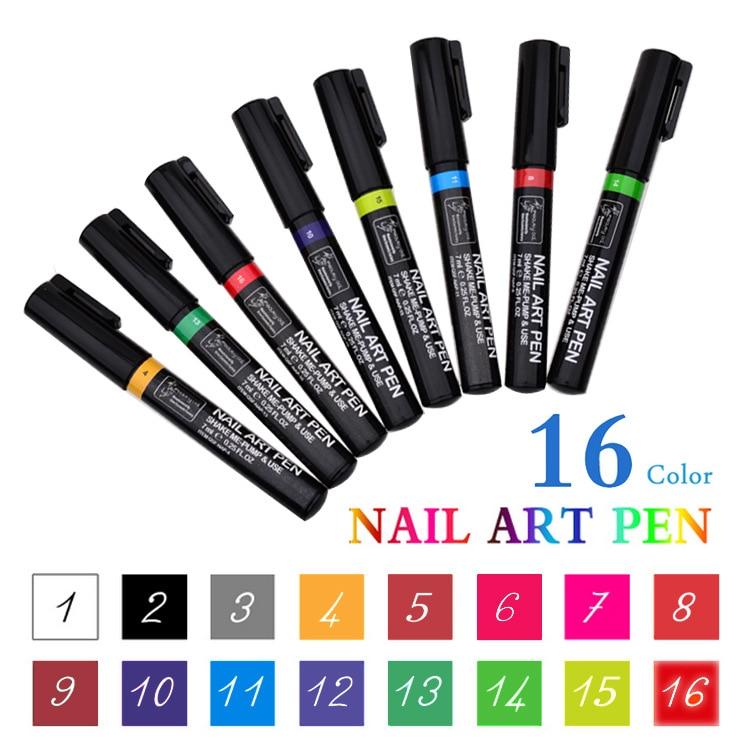 16 Colors 3D Nail Art Marker Pen Watercolor Brush Marker