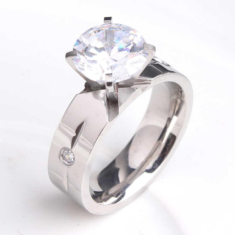 6mm croos zircon 316l anéis de casamento de aço inoxidável para venda por atacado