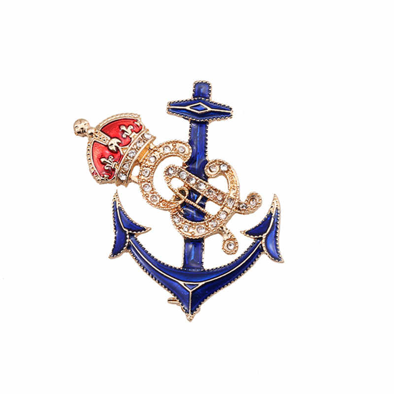 XQ Fashion Kreatif Baru Perhiasan DROP Enamel Enamel Jangkar Mahkota Biru Halus Korsase Aksesoris Pakaian untuk Wanita dan Pria