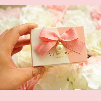 Promotion 50pcs aestheticism Pearl ribbon bowknot Wedding Birthday Guests Event party small goods pink white Candy Favor Boxes