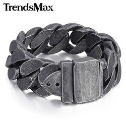 Trendsmax 24 мм бронза мужской браслет 316L браслет из нержавеющей стали для мужчин подарок ювелирные изделия HB333