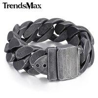 Trendsmax 24mm Gunmetal men's bracelet 316L stainless steel bracelet for men gift jewelry HB333