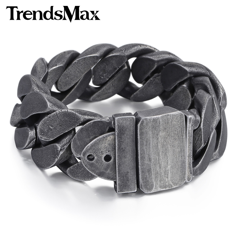 Trendsmax 24mm Gunmetal hommes bracelet en acier inoxydable 316L bracelet pour hommes cadeau bijoux HB333Trendsmax 24mm Gunmetal hommes bracelet en acier inoxydable 316L bracelet pour hommes cadeau bijoux HB333