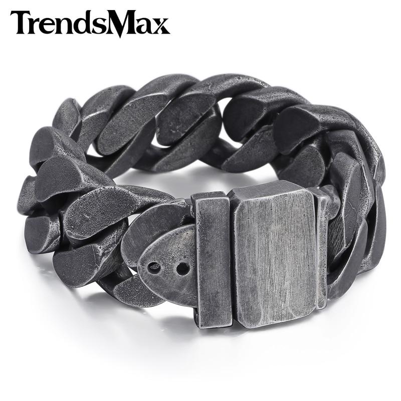 Trendsmax 24mm brățară Gunmetal pentru bărbați brățară 316L din oțel inoxidabil pentru bărbați bijuterii cadou HB333