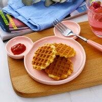Kleurrijke Keramische cartoon dier ontbijt plaat huishoudelijke servies afternoon tea cake pan vork lepel