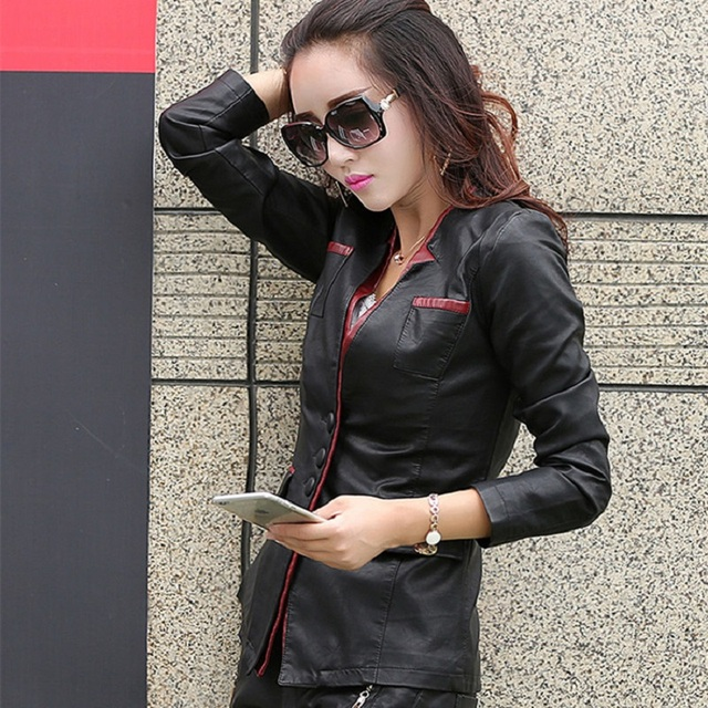 Plus size women clothing 2016 leather jacket medium-long slim red stitching leather jacket outerwear female casual jacket