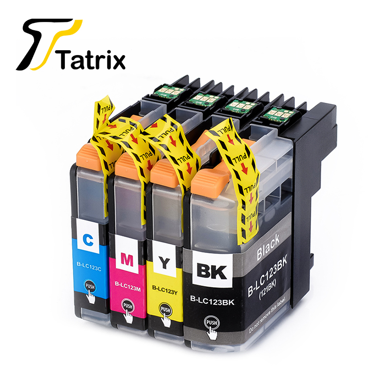4PK LC123 BK C M Y Compatible Ink Cartridge With Chip For Brother MFC J4410DW MFC