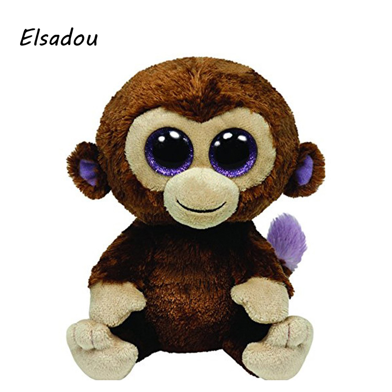 Elsadou Ty Beanie Boos Stuffed Plush Animals Brown Monkey font b Toy b font Doll