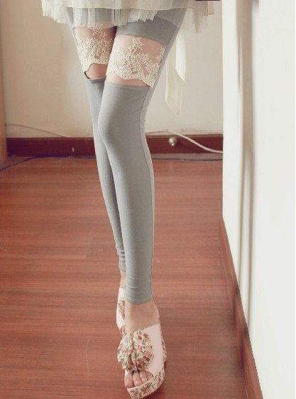 Embroidery lace knee openings laugh nine Leggings  free shiping