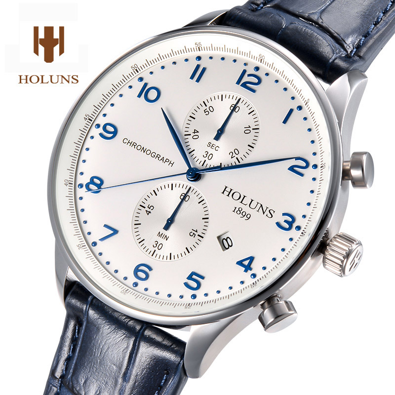 HOLUNS Luxury watch men pilot Waterproof Chronograph multi function dial leather strap stainless steel sport quartz watches