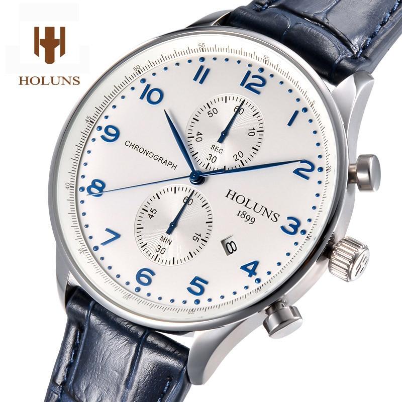 HOLUNS Luxury watch men pilot Waterproof Chronograph multi function dial leather strap stainless steel sport quartz watches все цены