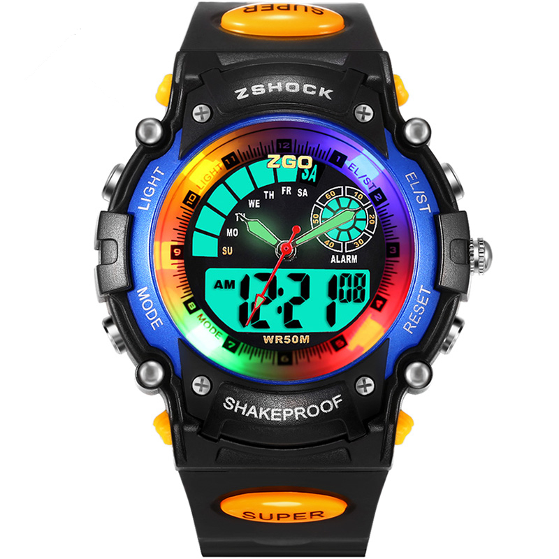 ZGO Children LED Digital Watch Relogio Feminino Sports Watches Kids Cartoon Jelly Relojes Mujer 2016 Waterproof Wristwatches