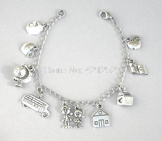 12pcs teacher inspired bracelet teacher charm bracelet love to teach best teacher gift adjustable