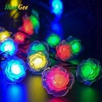 HoozGee Solar Fairy Lamp Outdoor Rose Flower 30 LED String Lights Garden Christmas Weeding Patio Lighting