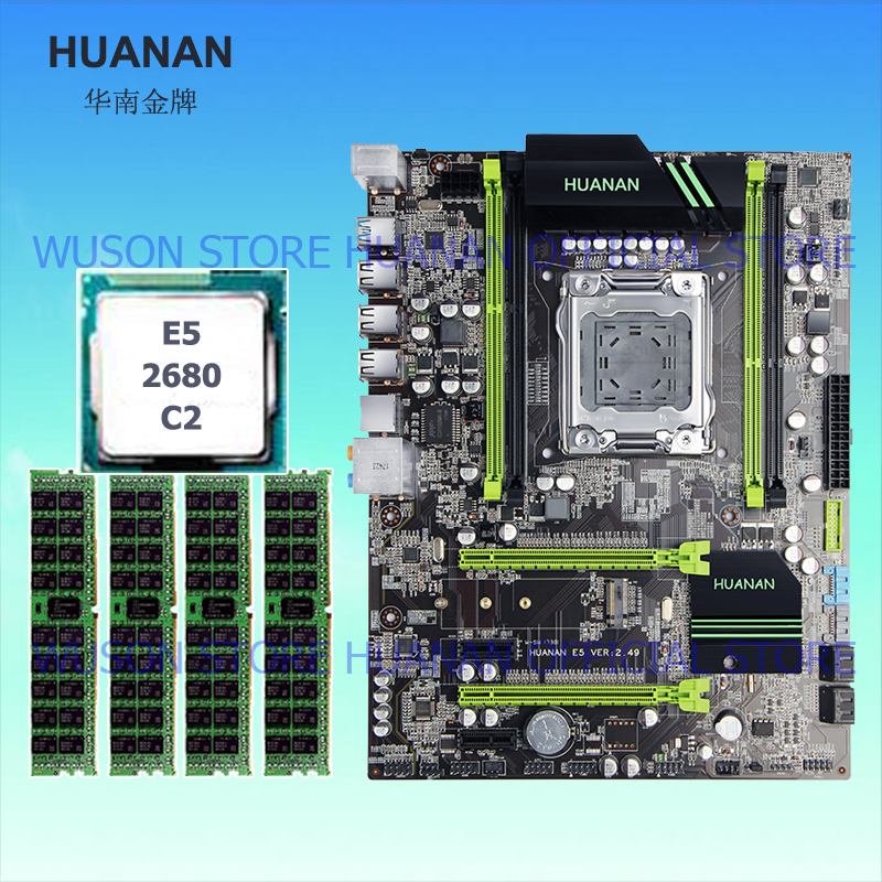 Qualité garantie marque HUANAN ZHI X79 carte mère avec SSD M.2 slot CPU Xeon E5 2680 C2 SR0KH 2.7 GHz RAM 16G (4*4) DDR3 REG ECC
