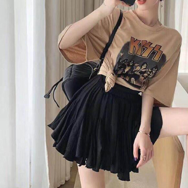 Women's Chiffon Pleated Mini Tutu Skirt High Waist Ball Gown School Shorts Skirts Female 2019 Summer Clothes With Pants Inside