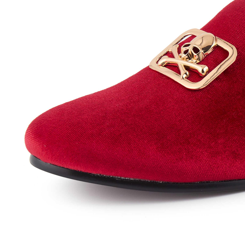 Harpelunde Mens กำมะหยี่สีแดง Loafer Skull ชุดหัวเข็มขัดรองเท้าแต่งงานขนาด 6-14