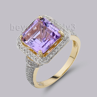 Jewelry Sets Vintage Princess 7mm Solid 14Kt Two Tone Gold Diamond Amethyst Ring G090326