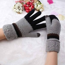Girls Female Gloves Wool Knitted Winter Gloves Warmer Colorful Flower Pattern Full Fingers Glove Mitten Winter Women's guantes