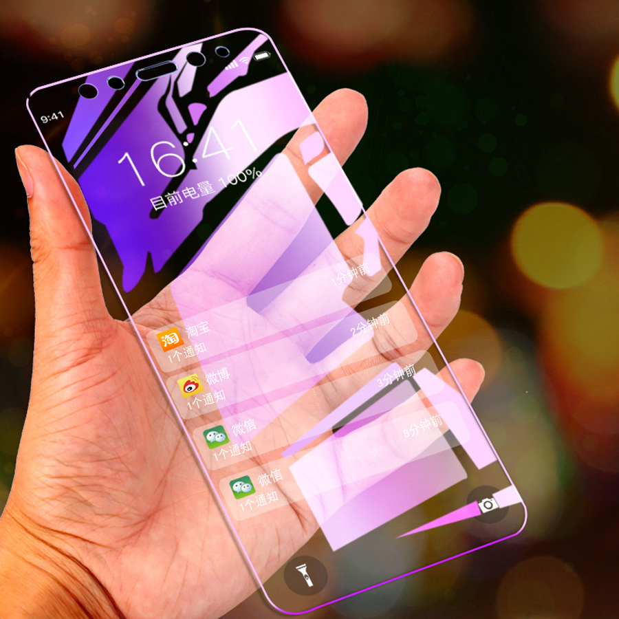 Lisme 100 pièces Violet Anti Blu-ray pour xiaomi mi 8 8 Se mi 9 9 Se rouge mi Note 7 7 Pro K20 Pro Anti-violet HD verre protecteur d'écran
