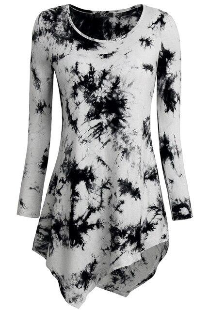 New Arrival Fashion Women T-shirts Fit and Flare Elastic Basic Tunics Irregular Hem Tops Women Tie Dye T-Shirts