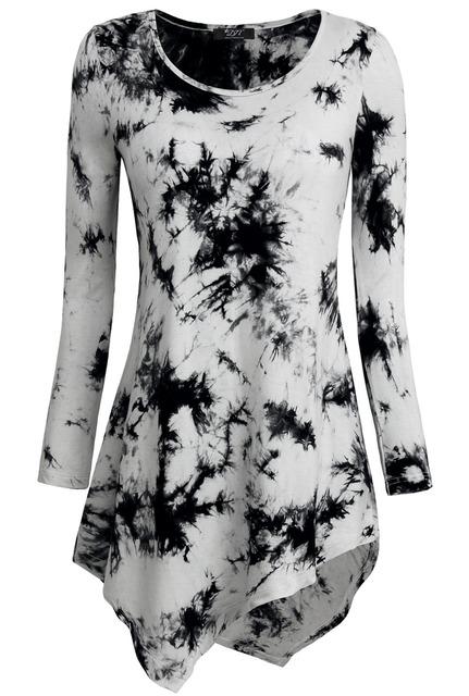 Nueva llegada de la manera mujeres camisetas fit y flare elástico túnicas básica irregular hem tops mujeres tie dye camisetas