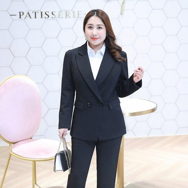 09ca7fe7f Women Plus Size Black Blazer & Pants Set Suit Jacket Coat Long Sleeve  Double Breasted Formal Office Lady 4xl 5xl 6xl 7xl 8xl 9xl