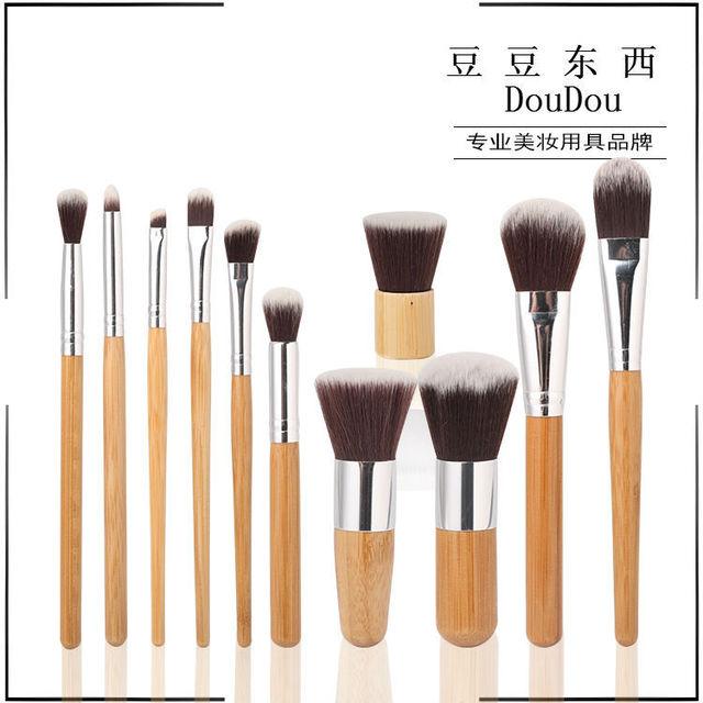 New Professional 11 pçs/set Bamboo Handle Pincéis de Maquiagem Cosméticos Set Fundação Eyeshadow Corretivo