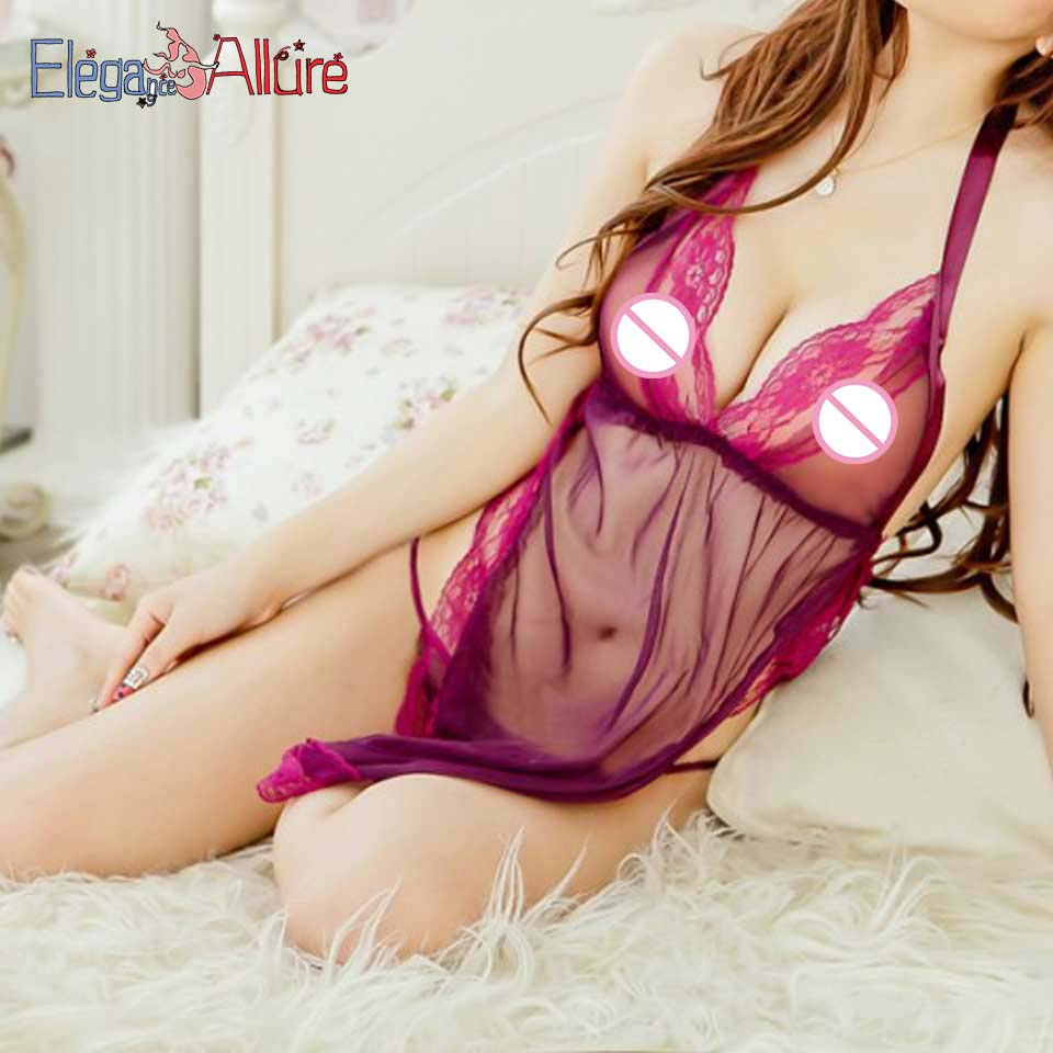 E A Transparent Lingerie Set Hot Erotic Costume Babydoll 2019 Porno Dress Thong Women Sleepwear Female Nightwear Sexy Clothes in Babydolls Chemises from Novelty Special Use