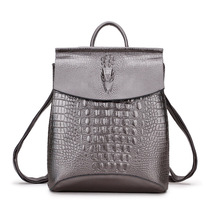 New Cowhide Backpack Crocodile Pattern