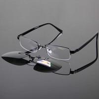 Wholesale Super Light Men S Glasses Frame And Magnetic Clip On Sunglasses UV400 Deep Green Polarized