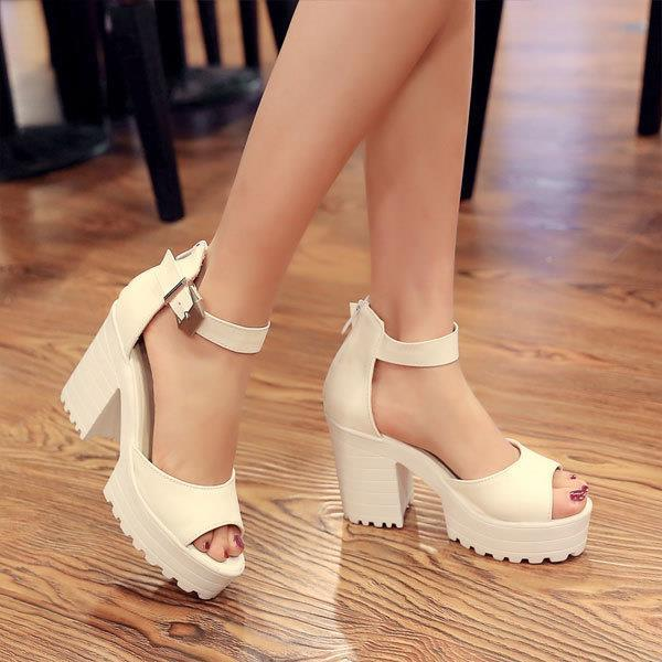 ФОТО 2015 summer white sandals high-heeled shoes work shoes platform thick heels sandals women's peep toe ankle straps sandals OX023