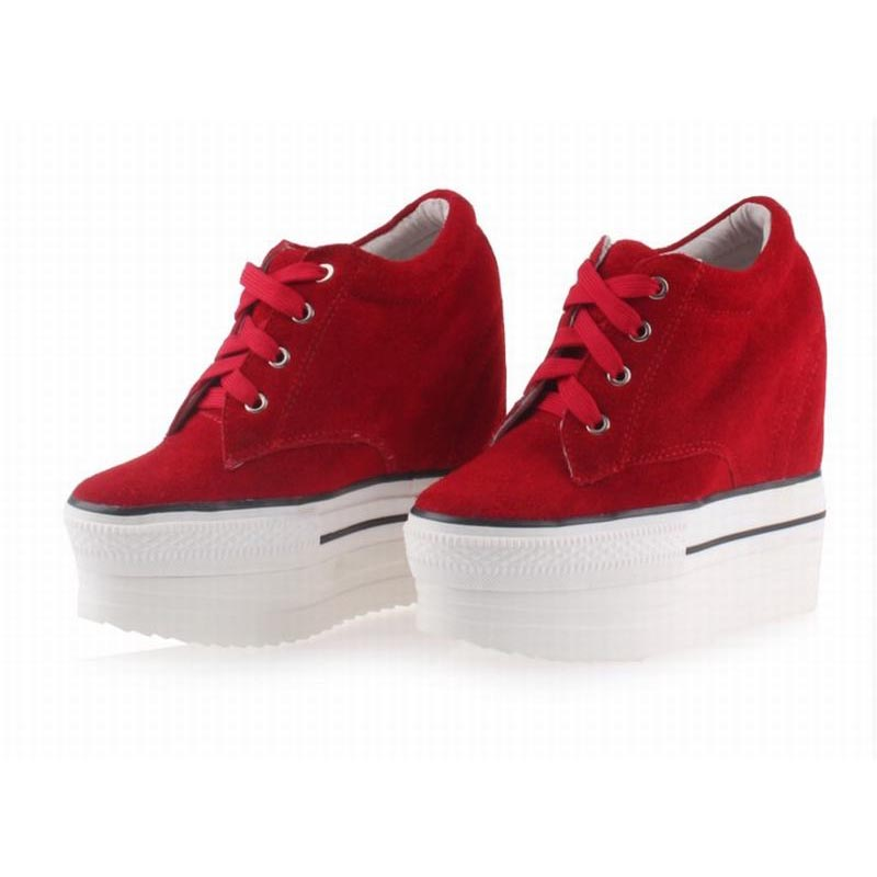 new fashion ultra high platform wedges height increasing casual shoes suede leather Invisible elevator lace up women single shoe