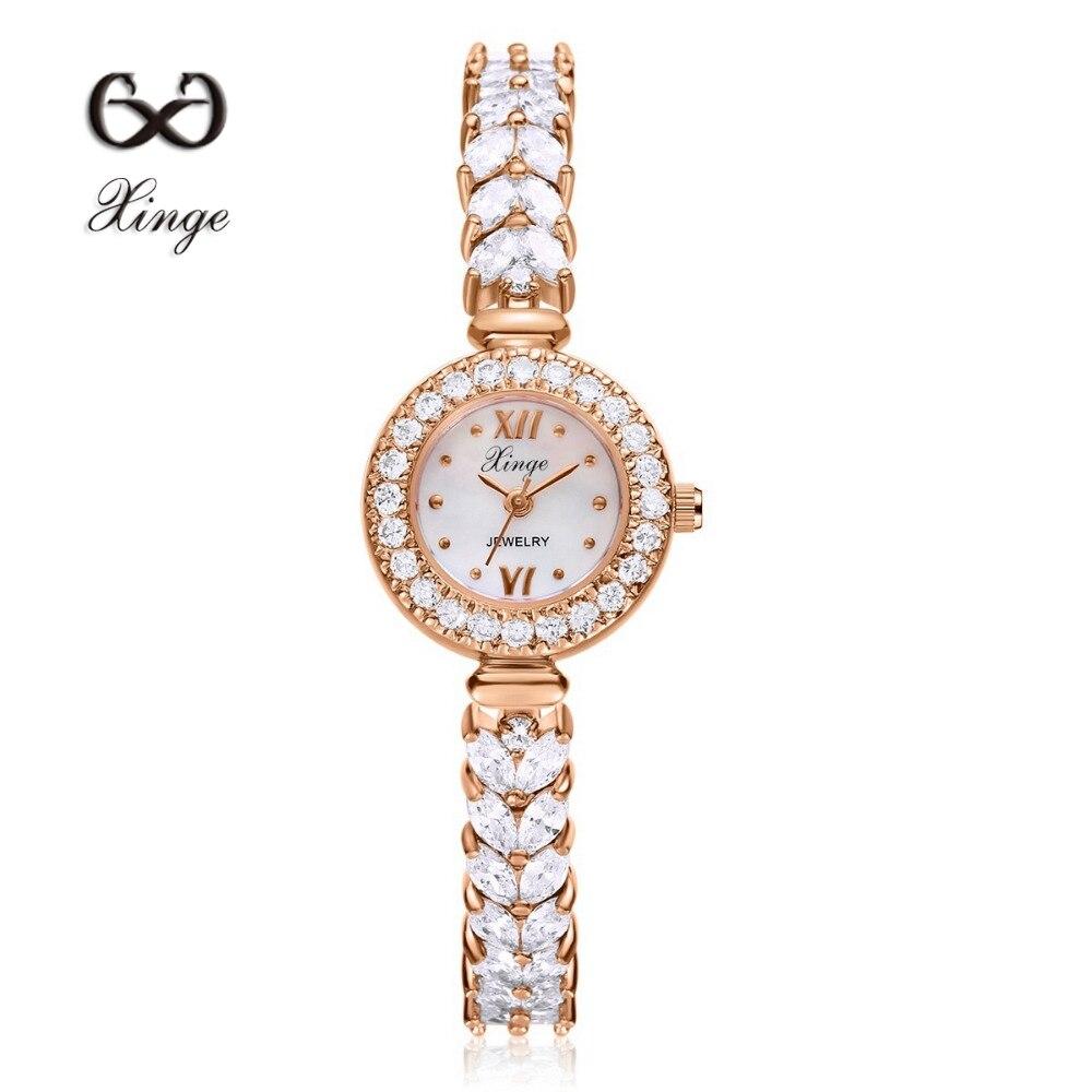 Xinge Brand Luxury Zircon Copper Bracelet Shell 30M Waterproof Wristwatch Women Dress Rhinestone Quartz Round Casual Watches