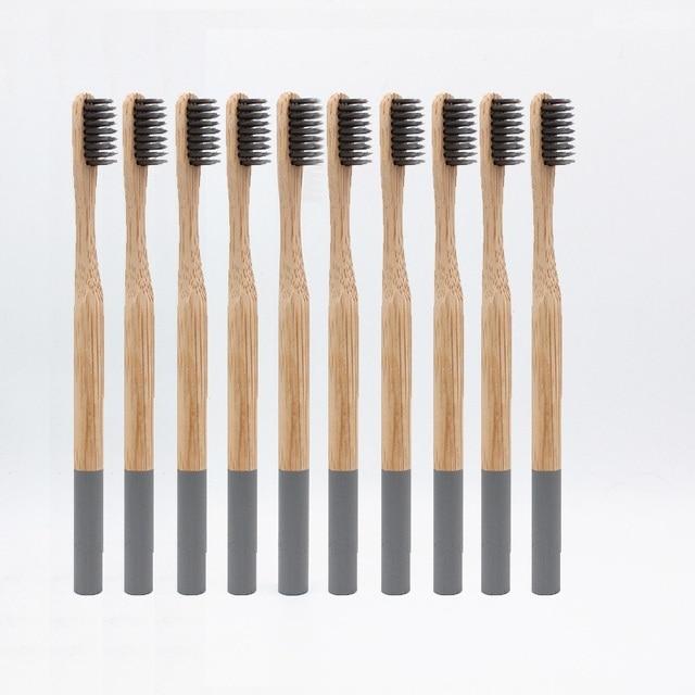 Al por mayor 10 piezas cepillo de dientes de bambú cerdas de fibra de bambú suave tandenborstel mango de madera cepillo de dientes ecológico